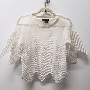 Gracia Netted Crochet White Blouse SZ L